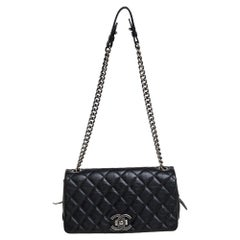 Chanel Black Quilted Goatskin Leather Medium City Rock Flap Bag