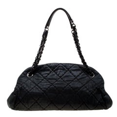 Chanel Black Quilted Iridescent Leather Medium Just Mademoiselle Bowler Bag