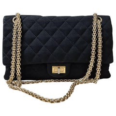 Chanel Black Quilted Jersey Fabric 2.55 Reissue  Double Flap Bag