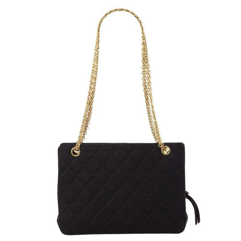Black Chanel black quilted jersey VINTAGE Shoulder Bag