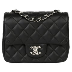 Chanel  Black Quilted Lambksin Mini Flap Bag