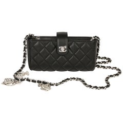 Chanel Black Quilted Lambskin Camellia Charm Pouch-on-Chain POC