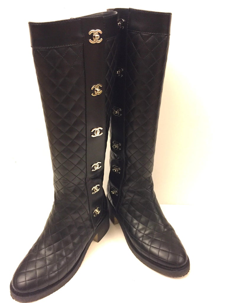 """Women's Chanel black quilted  lambskin """"CC"""" long boots  For Sale"""