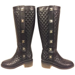 "Chanel black quilted  lambskin ""CC"" long boots"