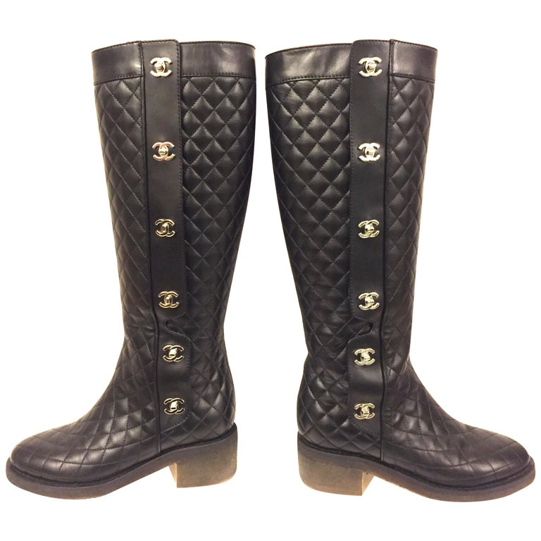 """Chanel black quilted  lambskin """"CC"""" long boots  For Sale"""