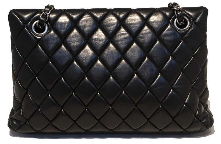 Chanel Black Quilted Lambskin Classic Flap Maxi Shoulder Bag In Excellent Condition For Sale In Philadelphia, PA