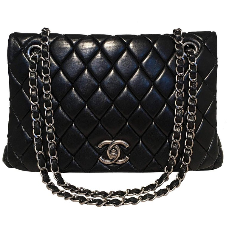 Chanel Black Quilted Lambskin Classic Flap Maxi Shoulder Bag For Sale