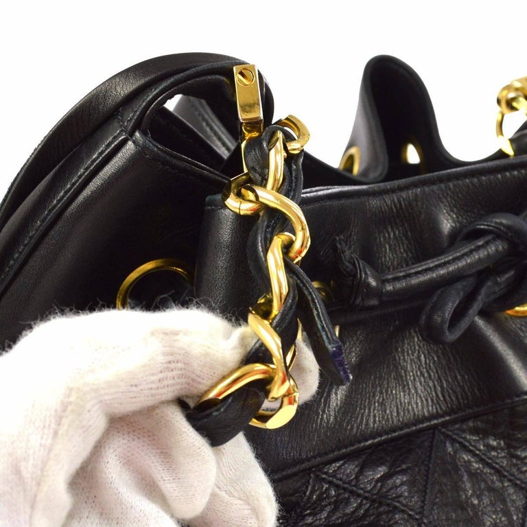 "Chanel Black Quilted Lambskin Gold Toned ""CC"" Drawstring Bucket Shoulder Bag.  For Sale 1"