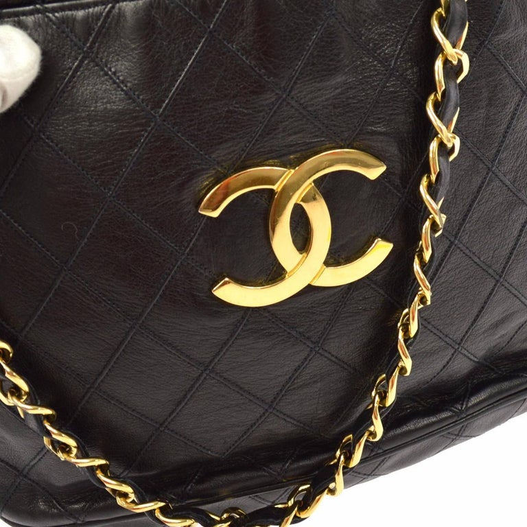 "Chanel Black Quilted Lambskin Gold Toned ""CC"" Drawstring Bucket Shoulder Bag.  For Sale 2"