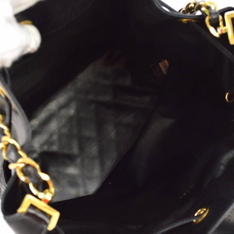 "Chanel Black Quilted Lambskin Gold Toned ""CC"" Drawstring Bucket Shoulder Bag.  For Sale 5"