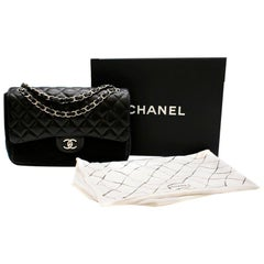 Chanel Black Quilted Lambskin Large Classic Double Flap Bag 31cm