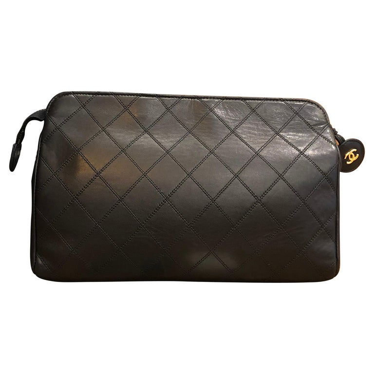 CHANEL Black Quilted Lambskin Leather Clutch Bag For Sale