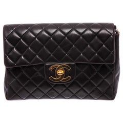 Chanel Black Quilted Lambskin Leather Jumbo XL Backpack