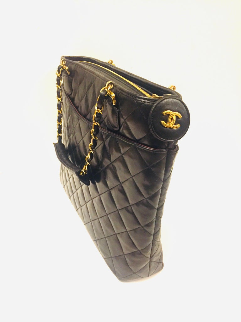 Black Chanel black quilted lambskin leather tote bag