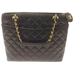 Chanel black quilted lambskin leather tote bag