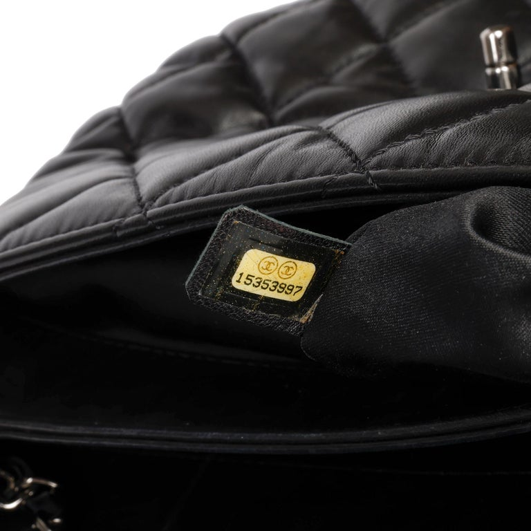 Chanel Black Quilted Lambskin Leather Triple Compartment Classic Single Flap Bag For Sale 6