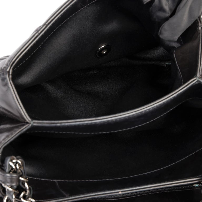 Chanel Black Quilted Lambskin Leather Triple Compartment Classic Single Flap Bag For Sale 7