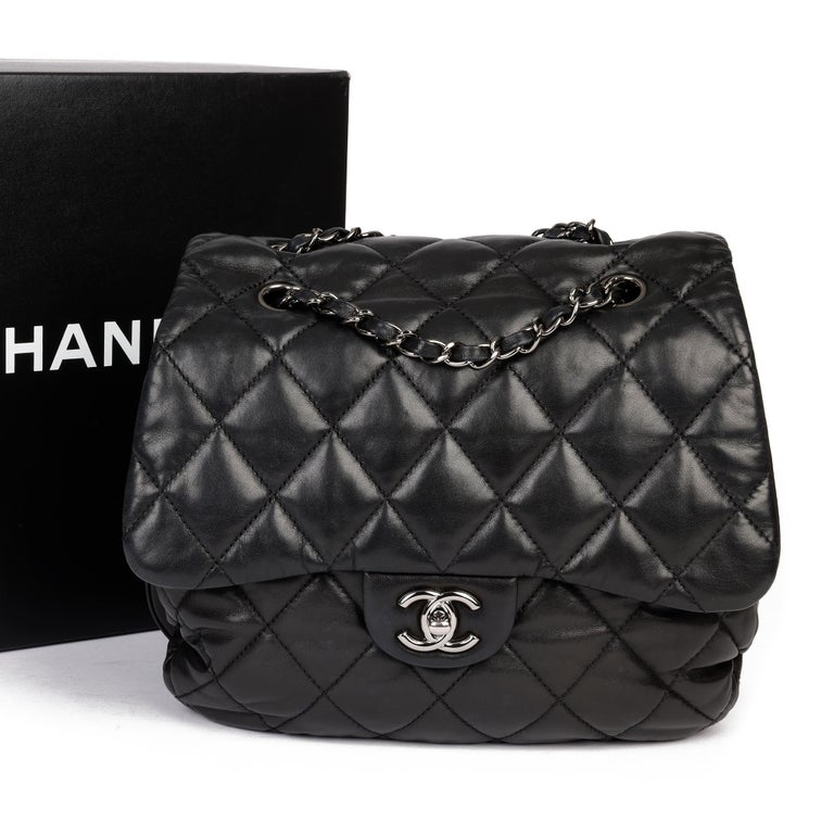 Chanel Black Quilted Lambskin Leather Triple Compartment Classic Single Flap Bag For Sale 8