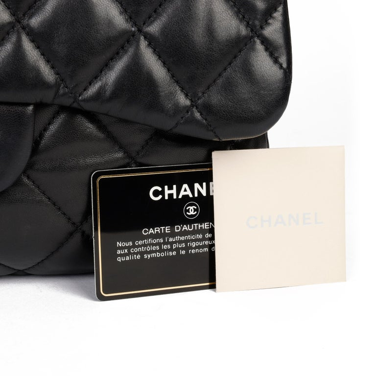 Chanel Black Quilted Lambskin Leather Triple Compartment Classic Single Flap Bag For Sale 9