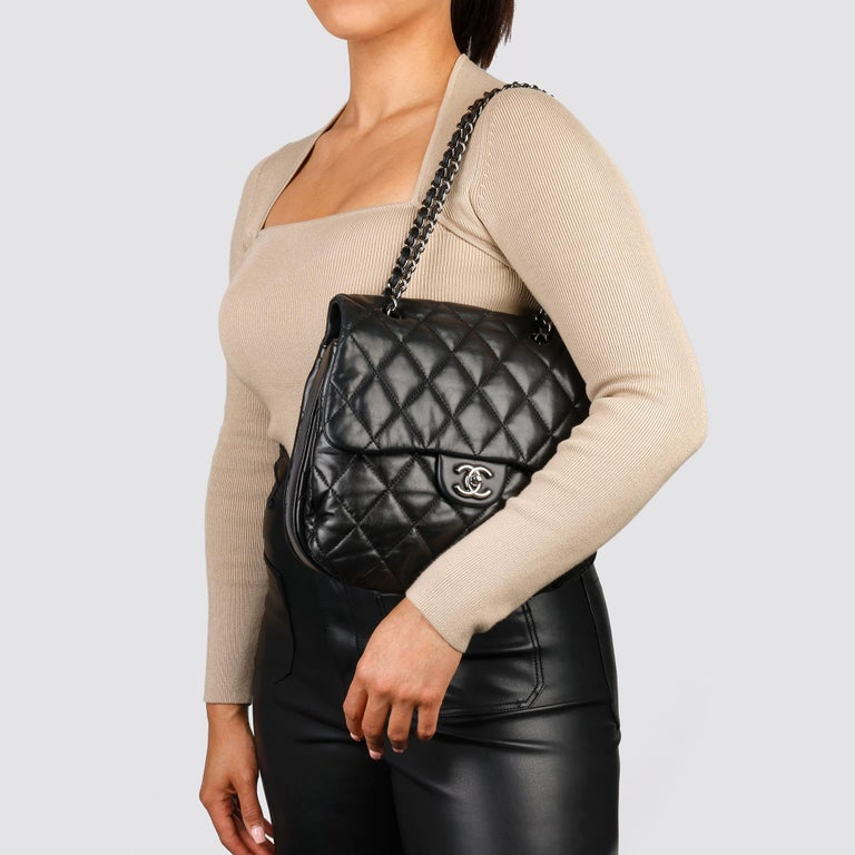 Chanel Black Quilted Lambskin Leather Triple Compartment Classic Single Flap Bag For Sale 10