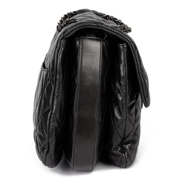 Chanel Black Quilted Lambskin Leather Triple Compartment Classic Single Flap Bag In Good Condition For Sale In Bishop's Stortford, Hertfordshire