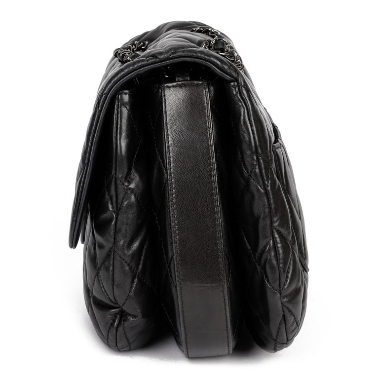 Women's Chanel Black Quilted Lambskin Leather Triple Compartment Classic Single Flap Bag For Sale