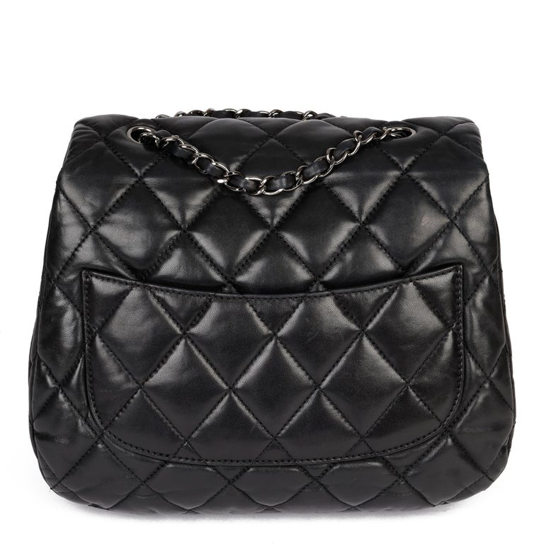 Chanel Black Quilted Lambskin Leather Triple Compartment Classic Single Flap Bag For Sale 1