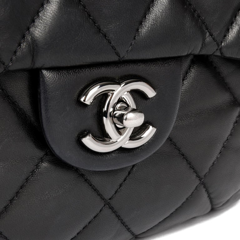 Chanel Black Quilted Lambskin Leather Triple Compartment Classic Single Flap Bag For Sale 3