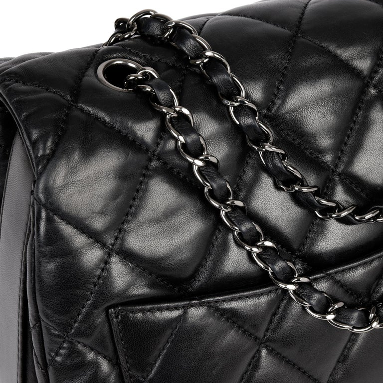 Chanel Black Quilted Lambskin Leather Triple Compartment Classic Single Flap Bag For Sale 4