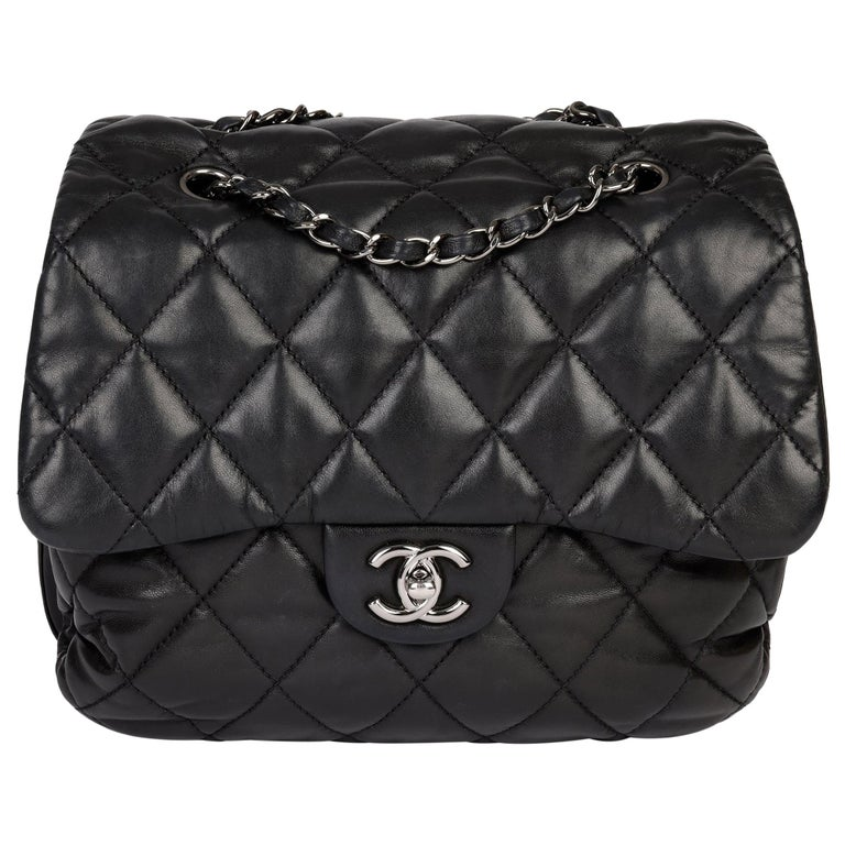 Chanel Black Quilted Lambskin Leather Triple Compartment Classic Single Flap Bag For Sale