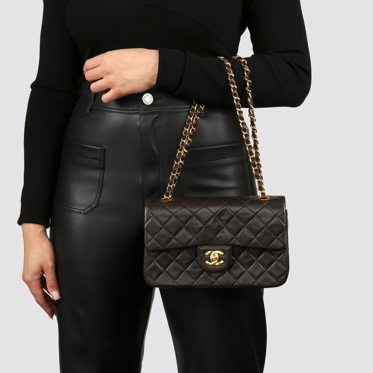 Chanel Black Quilted Lambskin Leather Vintage Small Classic Double Flap Bag For Sale 8
