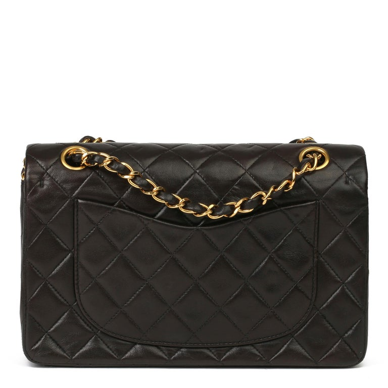 Chanel Black Quilted Lambskin Leather Vintage Small Classic Double Flap Bag For Sale 1