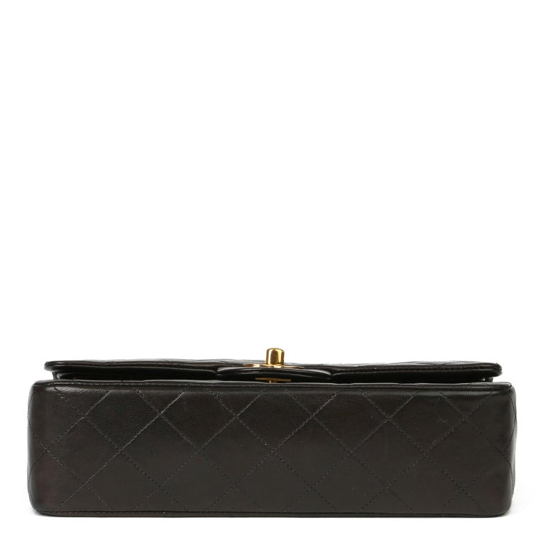 Chanel Black Quilted Lambskin Leather Vintage Small Classic Double Flap Bag For Sale 2