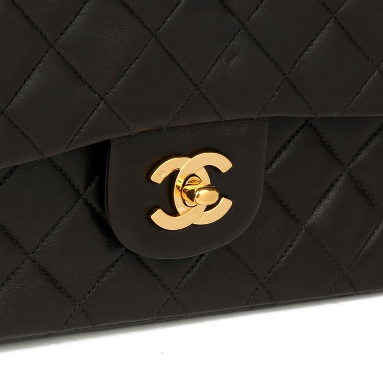 Chanel Black Quilted Lambskin Leather Vintage Small Classic Double Flap Bag For Sale 3