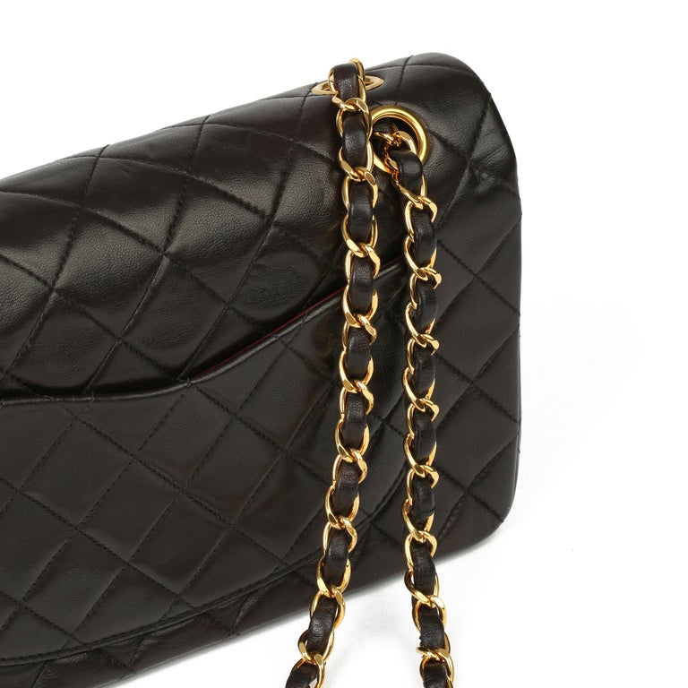 Chanel Black Quilted Lambskin Leather Vintage Small Classic Double Flap Bag For Sale 4