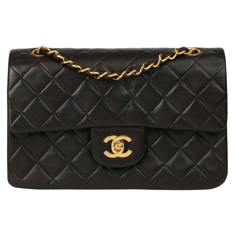 Chanel Black Quilted Lambskin Leather Vintage Small Classic Double Flap Bag For Sale