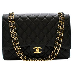 Chanel Black Quilted Lambskin Maxi Classic Flap Bag 34cm