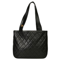 Chanel Black Quilted Lambskin Vintage Classic Shoulder Tote