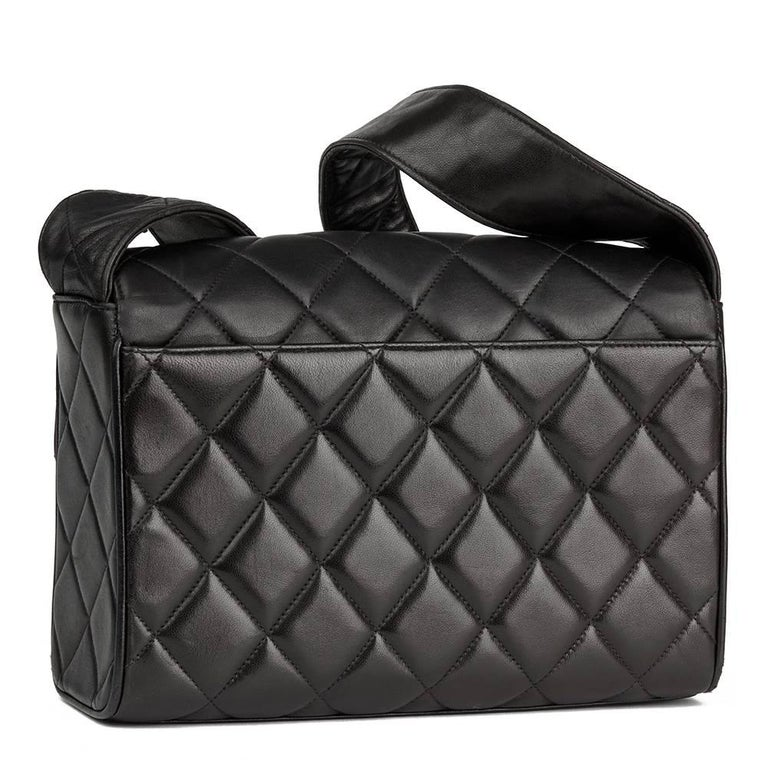 708f64d488f3 Chanel Black Quilted Lambskin Vintage Leather Logo Shoulder Flap Bag In  Good Condition For Sale In