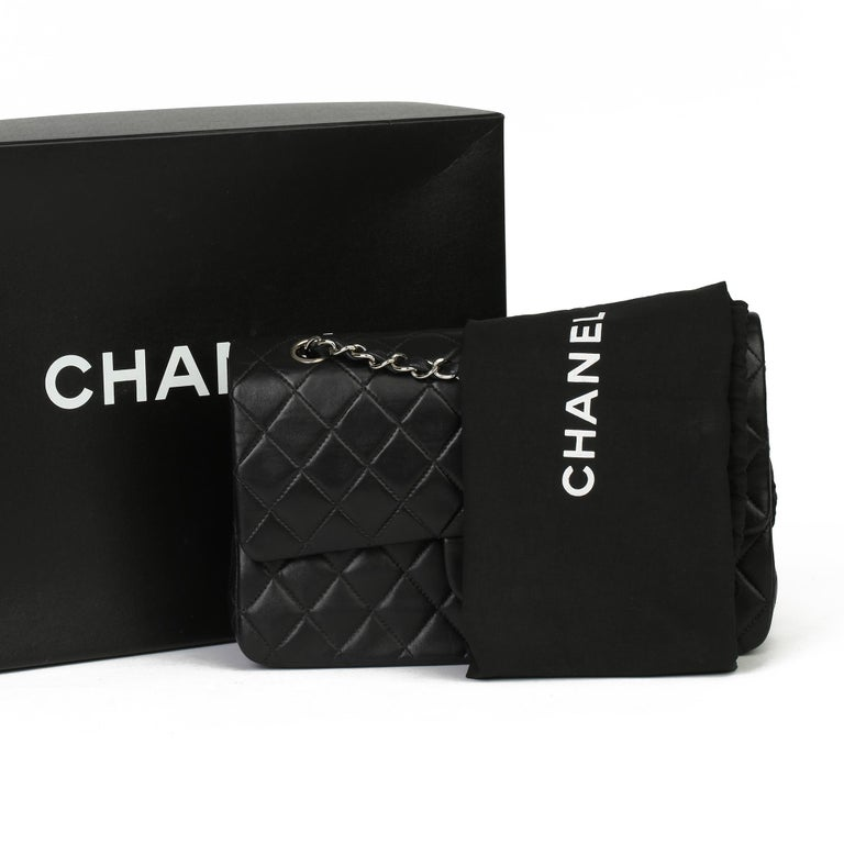 Chanel Black Quilted Lambskin Vintage Medium Classic Double Flap Bag For Sale 7