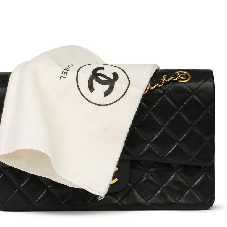 Chanel Black Quilted Lambskin Vintage Medium Classic Double Flap Bag 8