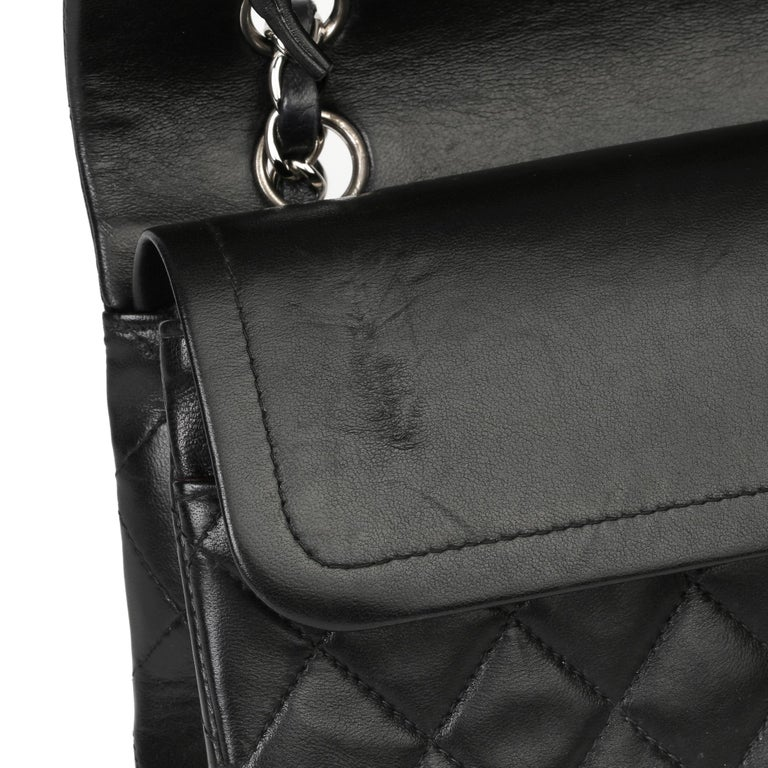 Chanel Black Quilted Lambskin Vintage Medium Classic Double Flap Bag For Sale 8