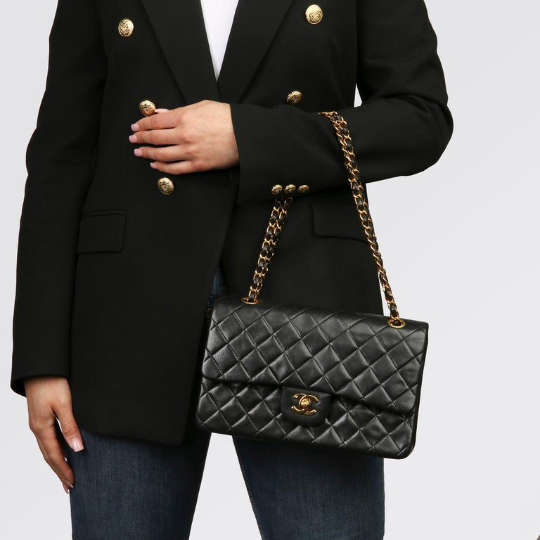 Chanel Black Quilted Lambskin Vintage Medium Classic Double Flap Bag 9