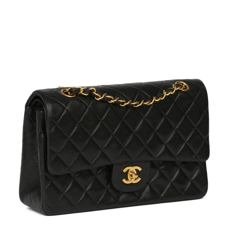 CHANEL Black Quilted Lambskin Vintage Medium Classic Double Flap Bag  Xupes Reference: HB3928 Serial Number: 4033884 Age (Circa): 1995 Accompanied By: Chanel Dust Bag Authenticity Details: Serial Sticker (Made in France) Gender: Ladies Type: