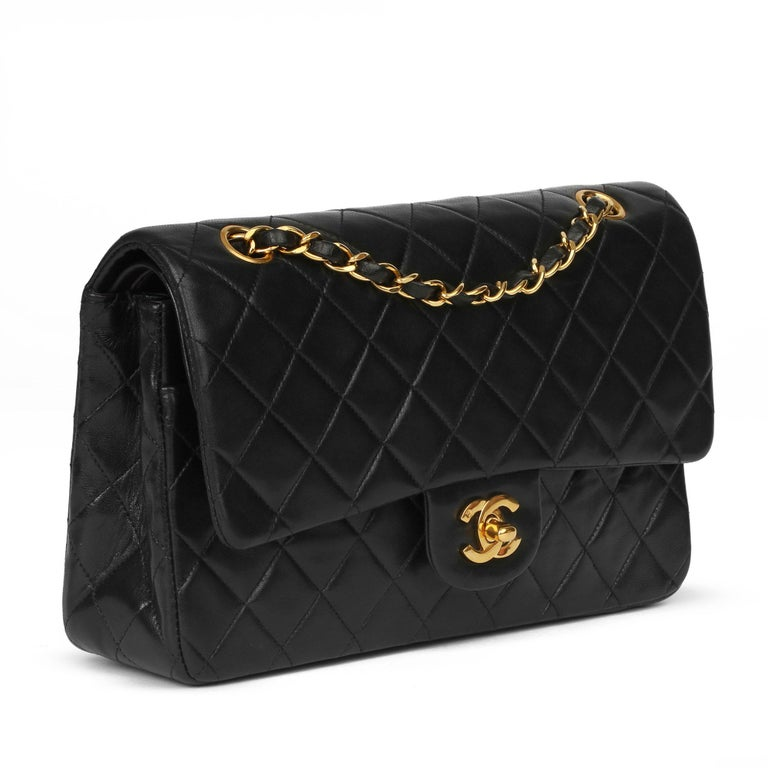 CHANEL Black Quilted Lambskin Vintage Medium Classic Double Flap Bag  Xupes Reference: HB3939 Serial Number: 2457475 Age (Circa): 1994 Accompanied By: Chanel Dust Bag Authenticity Details: Serial Sticker (Made in France)  Gender: Ladies Type: