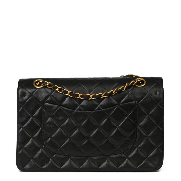 Chanel Black Quilted Lambskin Vintage Medium Classic Double Flap Bag 1