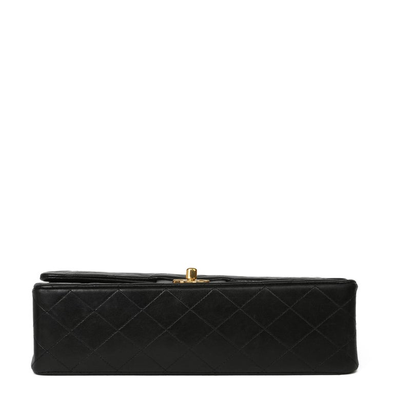 Chanel Black Quilted Lambskin Vintage Medium Classic Double Flap Bag 2