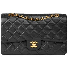 Chanel Black Quilted Lambskin Vintage Medium Classic Double Flap Bag