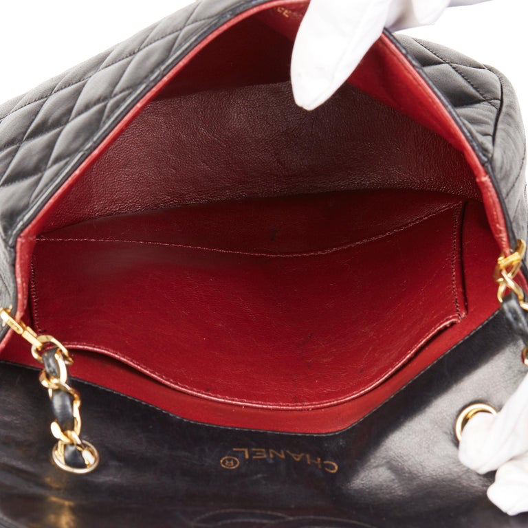 Chanel Black Quilted Lambskin Vintage XL Round Classic Single Flap Bag 6