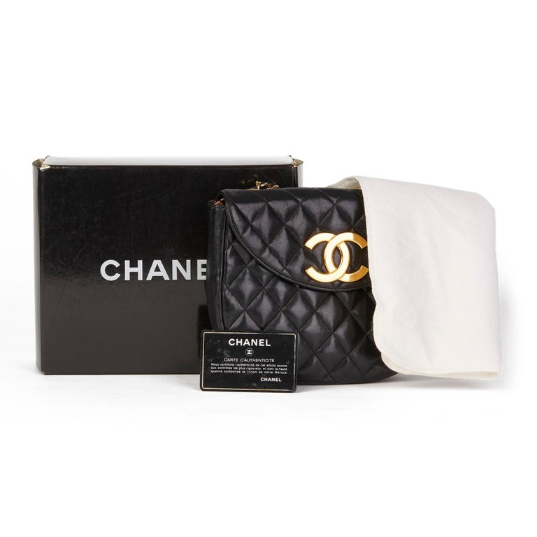Chanel Black Quilted Lambskin Vintage XL Round Classic Single Flap Bag 7
